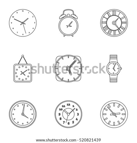 Clock icons set. Outline illustration of 9 clock vector icons for web