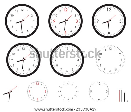Clock images, set isolated on white background, vector illustration. - stock vector