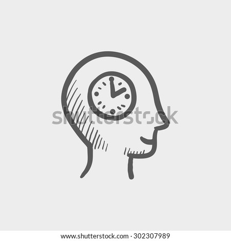 Clock in head sketch icon for web and mobile. Hand drawn vector dark grey icon on light grey background.