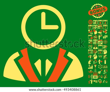 Clock Lord pictograph with bonus calendar and time management pictogram. Vector illustration style is flat iconic bicolor symbols, orange and yellow colors, green background.