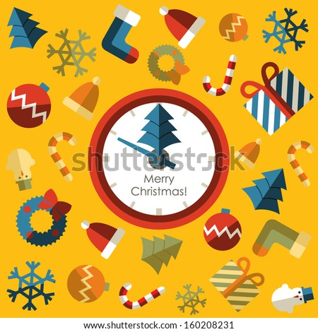 Clock. Merry christmas with background icon - stock vector