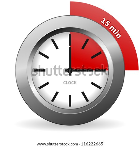 Clock 15 Minutes To Go - Bright Chrome Clock isolated on White background - stock vector
