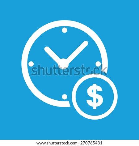 Clock money web white icon isolated on a blue background. Vector symbol - stock vector