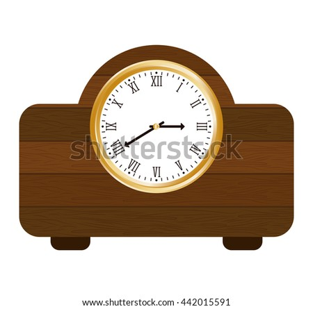 clock of wood  icon. Time design. vector graphic