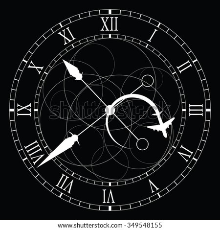 clock old white vector on black background