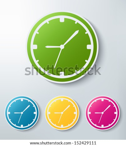 clock paper sticker icon set - stock vector