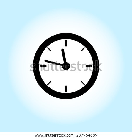 Clock sign icon, vector illustration. Flat design style - stock vector