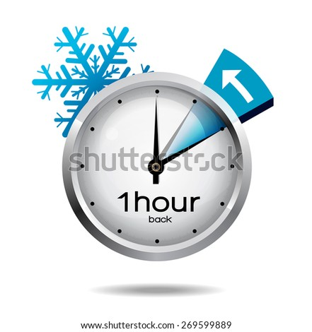 Clock switch to winter time  - stock vector