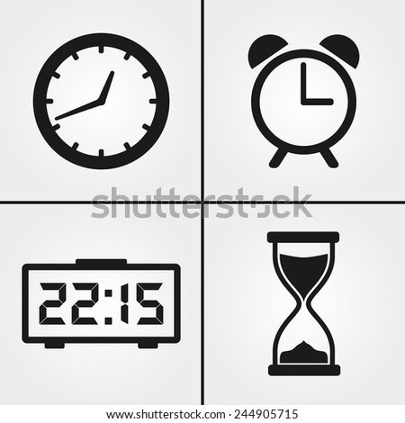 Clock Time Icons - stock vector