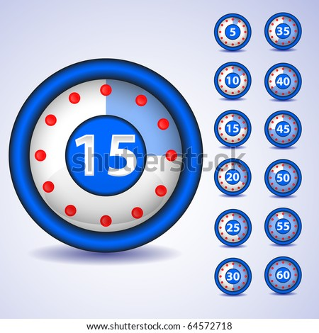 Clock  timer - change time every 5 min. Vector. - stock vector