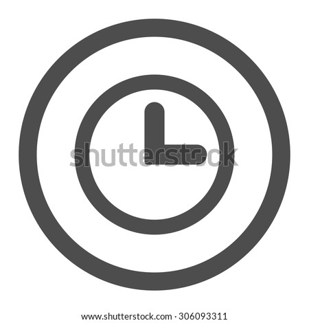 Clock vector icon. This rounded flat symbol is drawn with gray color on a white background. - stock vector