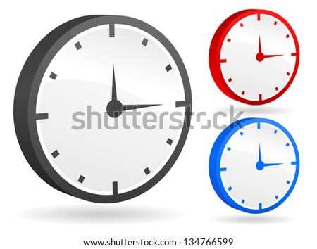 Clock Vectors /3d clock, timer, gauge, meter, clockface, time/ - stock vector