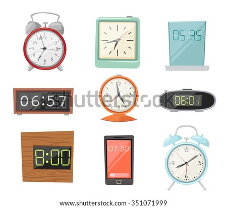 Clock watch alarms vector icons illustration. Clock icons isolated on white background. Clocks, watch silhouette. Old, retro, modern and fashion clocks. Time tools icons, alarm, watch icons isolated - stock vector