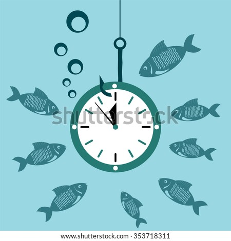 Clock, Watch on the hook under water with the fish. Time is money. A waste of time. - stock vector