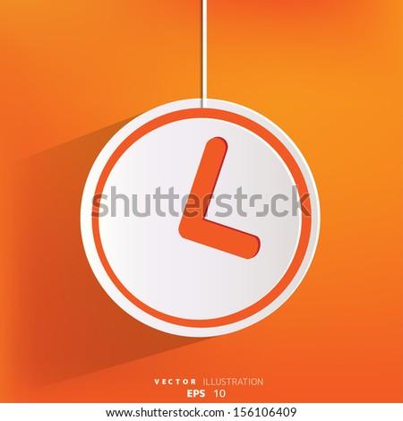 Clock web icon button - stock vector