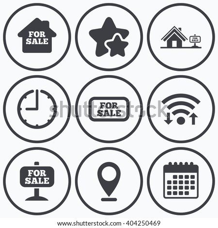 Clock, wifi and stars icons. For sale icons. Real estate selling signs. Home house symbol. Calendar symbol. - stock vector