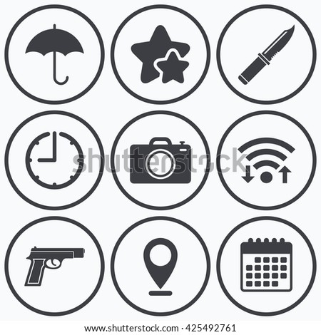 Clock, wifi and stars icons. Gun weapon icon.Knife, umbrella and photo camera signs. Edged hunting equipment. Prohibition objects. Calendar symbol. - stock vector