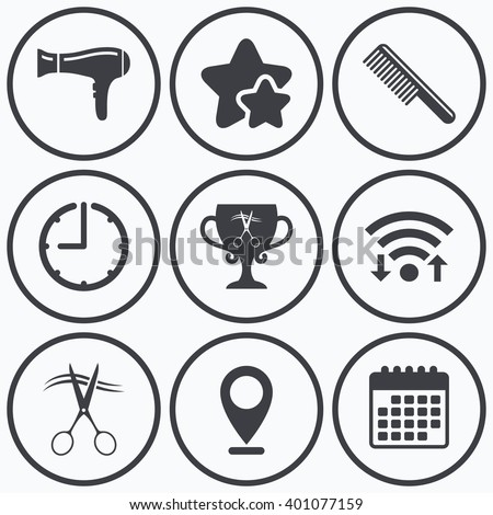 Clock, wifi and stars icons. Hairdresser icons. Scissors cut hair symbol. Comb hair with hairdryer symbol. Barbershop winner award cup. Calendar symbol. - stock vector