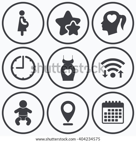 Clock, wifi and stars icons. Maternity icons. Baby infant, pregnancy and dress signs. Head with heart symbol. Calendar symbol. - stock vector