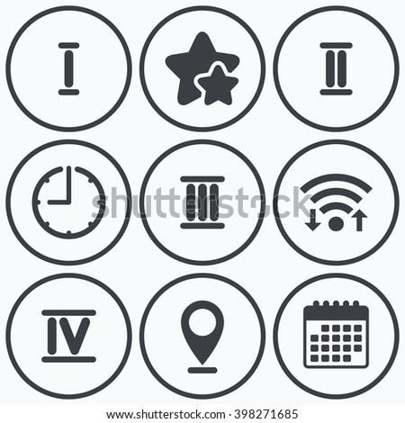 Clock, wifi and stars icons. Roman numeral icons. 1, 2, 3 and 4 digit characters. Ancient Rome numeric system. Calendar symbol. - stock vector