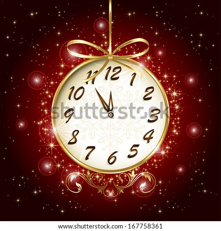 Clock with bow on red background, illustration. - stock vector