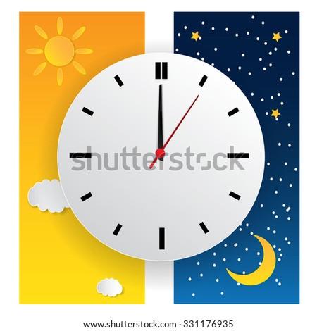 vector illustration clock switch summer time stock vector 320607992 shutterstock. Black Bedroom Furniture Sets. Home Design Ideas