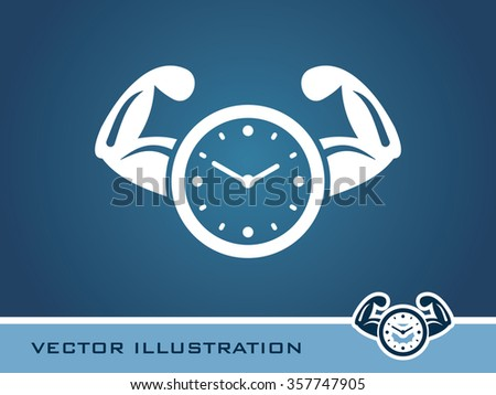 Clock with Hands Icon. Eps-10. - stock vector