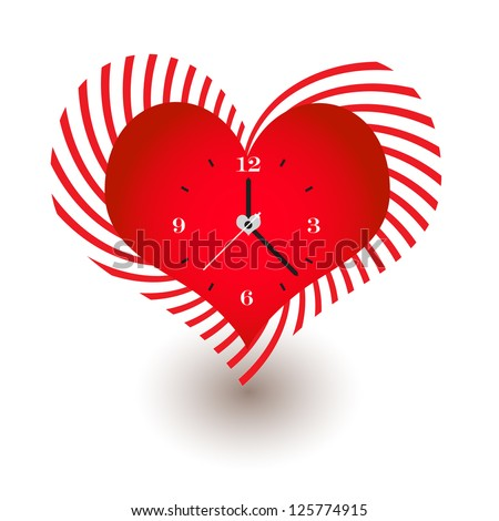 Clock with Heart Shaped - stock vector