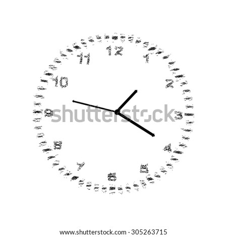 Clock with numbers, gray, vector