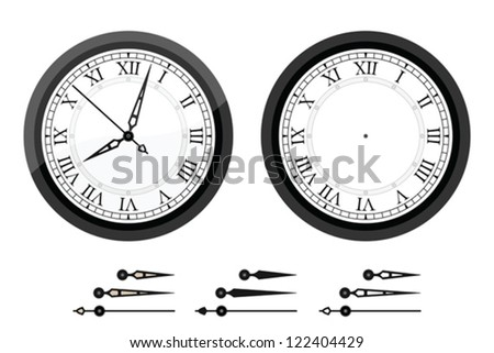 Clock with roman bended numerals - stock vector