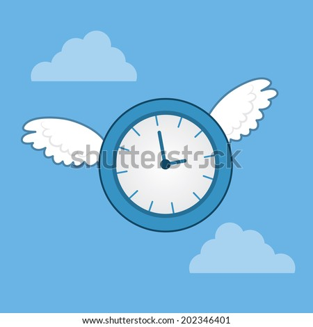 Clock with wings flying through the sky  - stock vector
