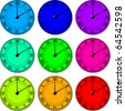 clockfaces color variations - stock vector