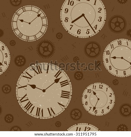 Clocks and gears vector distressed seamless pattern. Sepia colors.