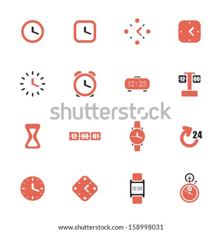 Clocks and time theme icon set - stock vector