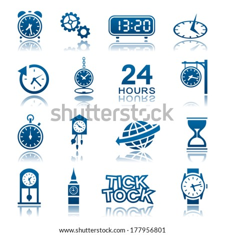 Clocks and watches icon set - stock vector