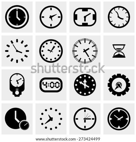 clocks icons set on gray - stock vector