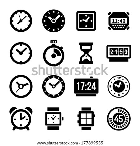 Clocks Icons Set on White Background - stock vector
