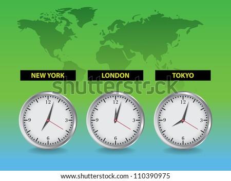 Clocks London, New York, Tokio - realistic illustration - stock vector