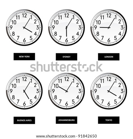Clocks of important capitals of the world. - stock vector