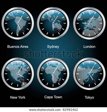 Clocks of important capitals of the world with the area map. - stock vector