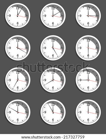 clocks showing different time. Vector illustration. EPS10 - stock vector
