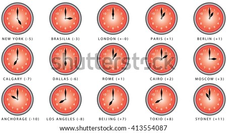 Clocks With Time Zone. Clocks Time Zones. World Clock, Time Difference In  Major