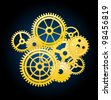 Clockwork mechanism elements with gears for time concept design. Jpeg version also available in gallery - stock photo