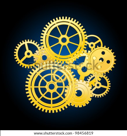Clockwork mechanism elements with gears for time concept design. Jpeg version also available in gallery - stock vector