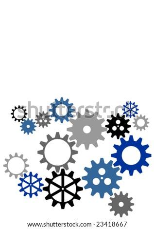 Clockworks gear parts in an industrial machine - stock vector