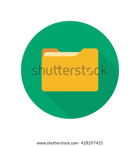 Close folder. Folder with documents. Yellow folder isolated on green background. Round icon with long shadow - stock vector