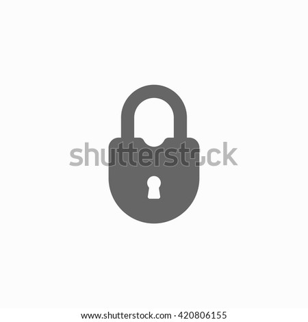 Close lock flat icon. Silhouette lock. Monochrome lock isolated on background. Vector lock - stock vector