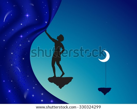 close or open the night curtain, silhouette, boy or young wizard standing on flying rock with moon on stick and  close or open fairy night curtain, vector - stock vector