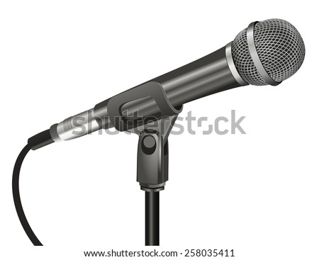 Close up 3d black color microphone with metal mesh and cable, realistic design. Technology object, sound recording equipment concept. vector art image illustration, isolated on white background - stock vector
