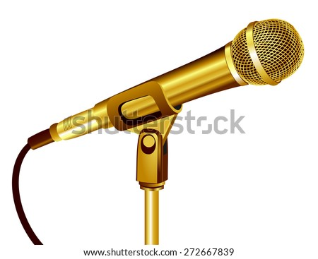 Close up 3d shiny gold microphone with golden mesh and cable, realistic style design. Technology object, sound recording equipment concept. vector art image illustration, isolated on white background - stock vector